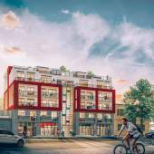 South elevation rendering of Synchro at 379 East Broadway.