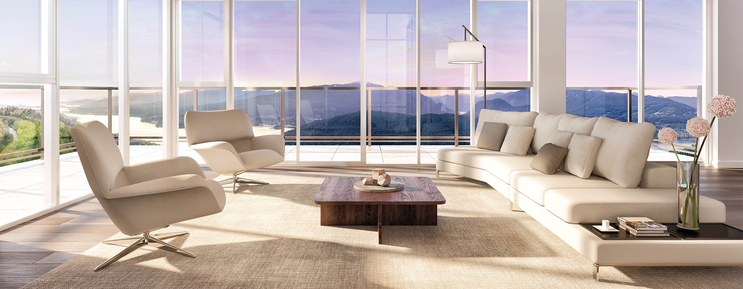 Artist concept of Terraces at the Peak penthouse living room.