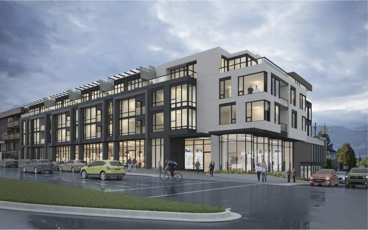 Exterior render of The Grey at 16th & Dunbar.
