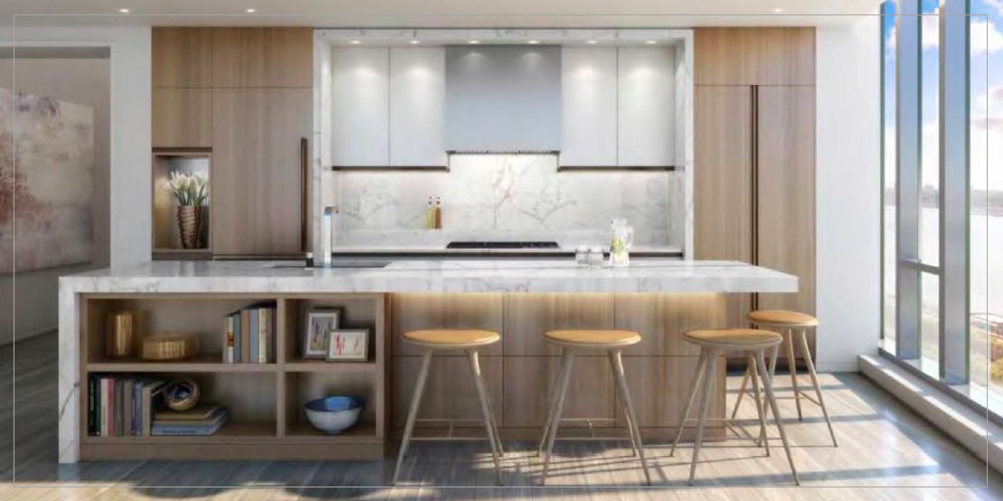 Open-plan kitchen concept for spacious living at The Grey.