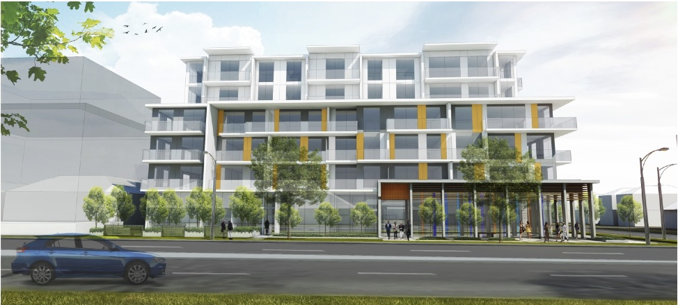 The Parker south elevation rendering.