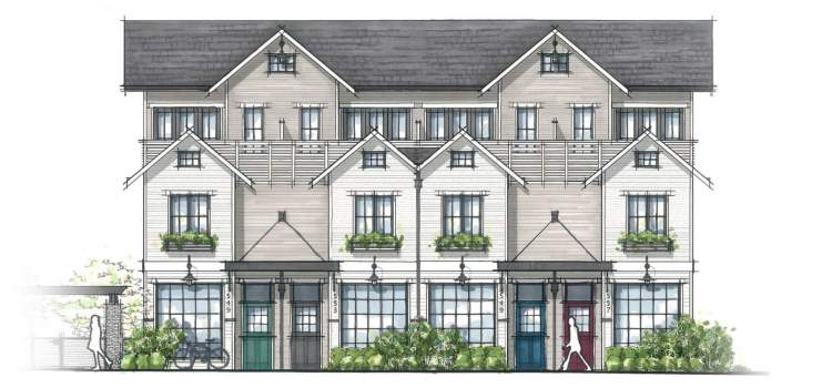 Detailed artist rendering of Dutch-style presale townhomes in North Vancouver.
