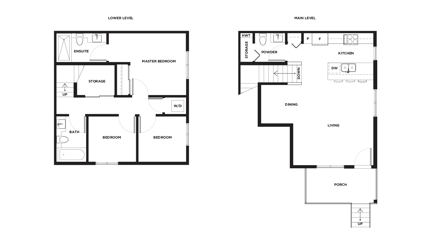 Ward B1/2 garden level floor plan for Vicini Homes Vancouver townhouses.