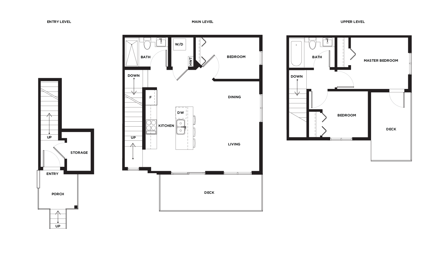 Ward A1/2 upper level floor plan for Vicini Homes Vancouver townhouses.