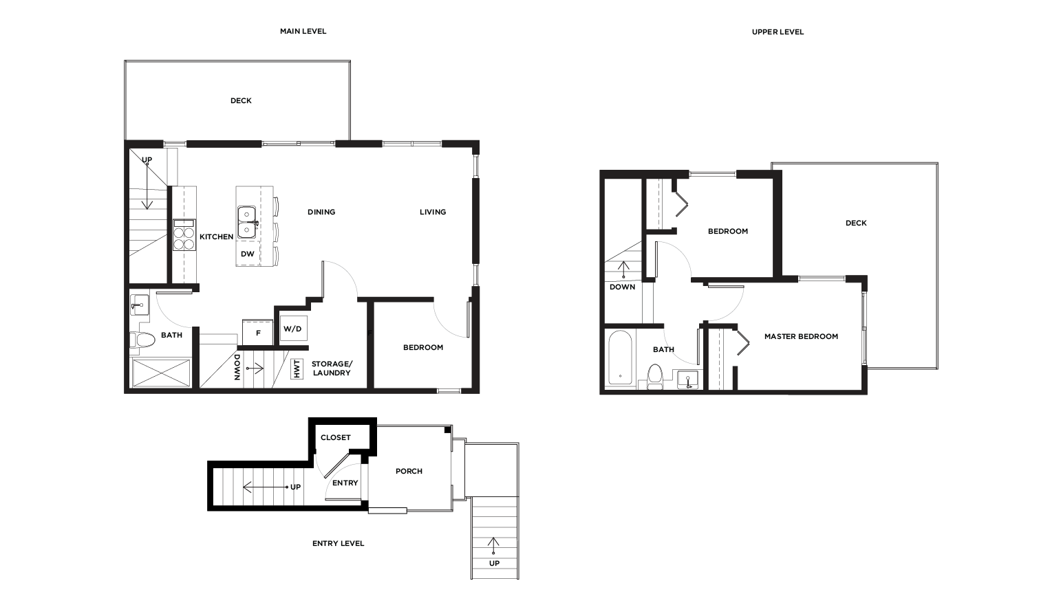 Ward C1/2 upper level floor plan for Vicini Homes Vancouver townhouses.
