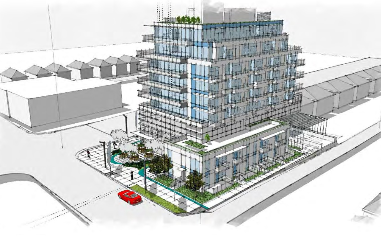 Architect drawing of new South Oak mixed-use development by Coromandel Properties.