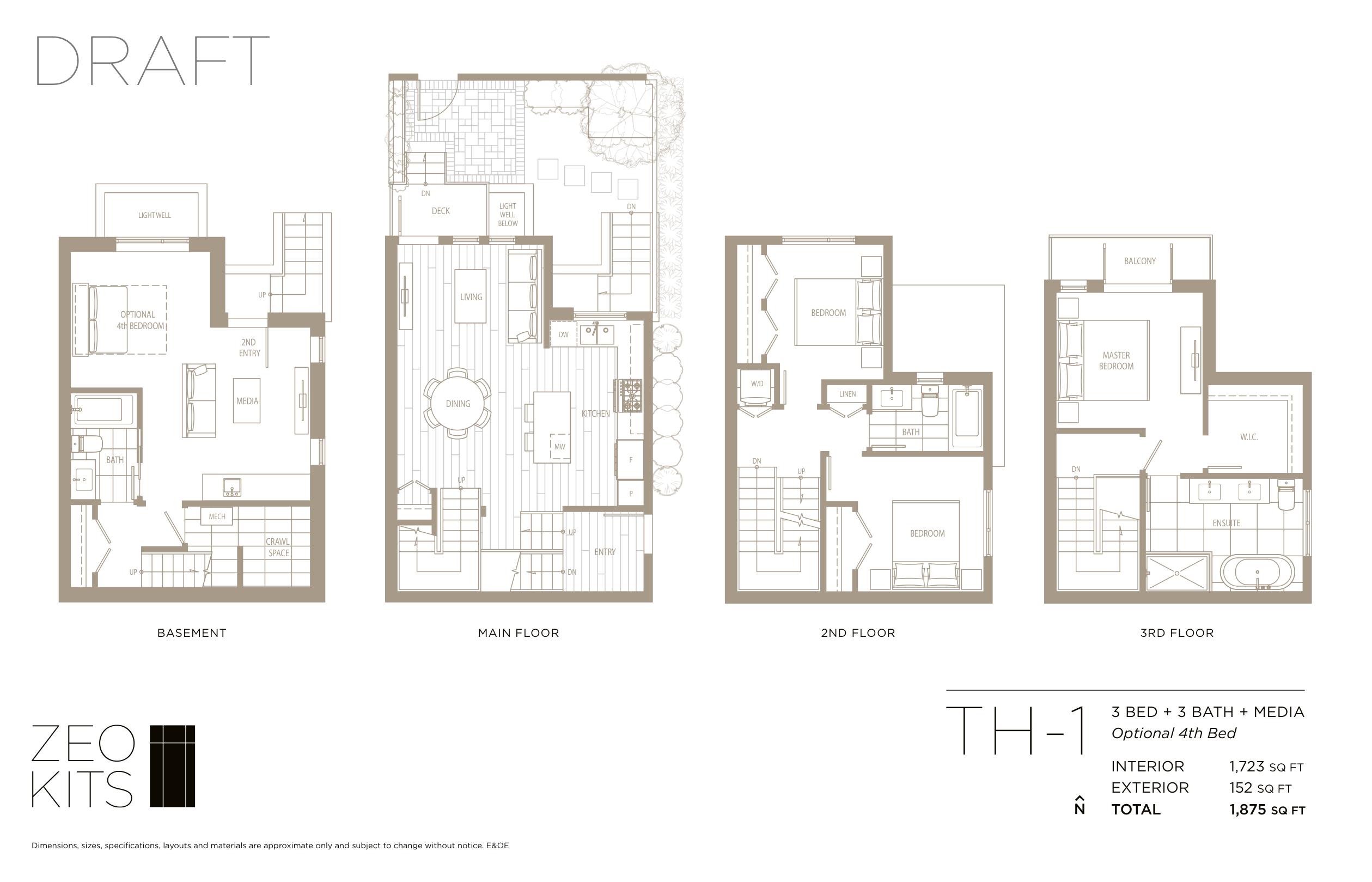 Sample 3 bed + 3 bath + media floorplan.