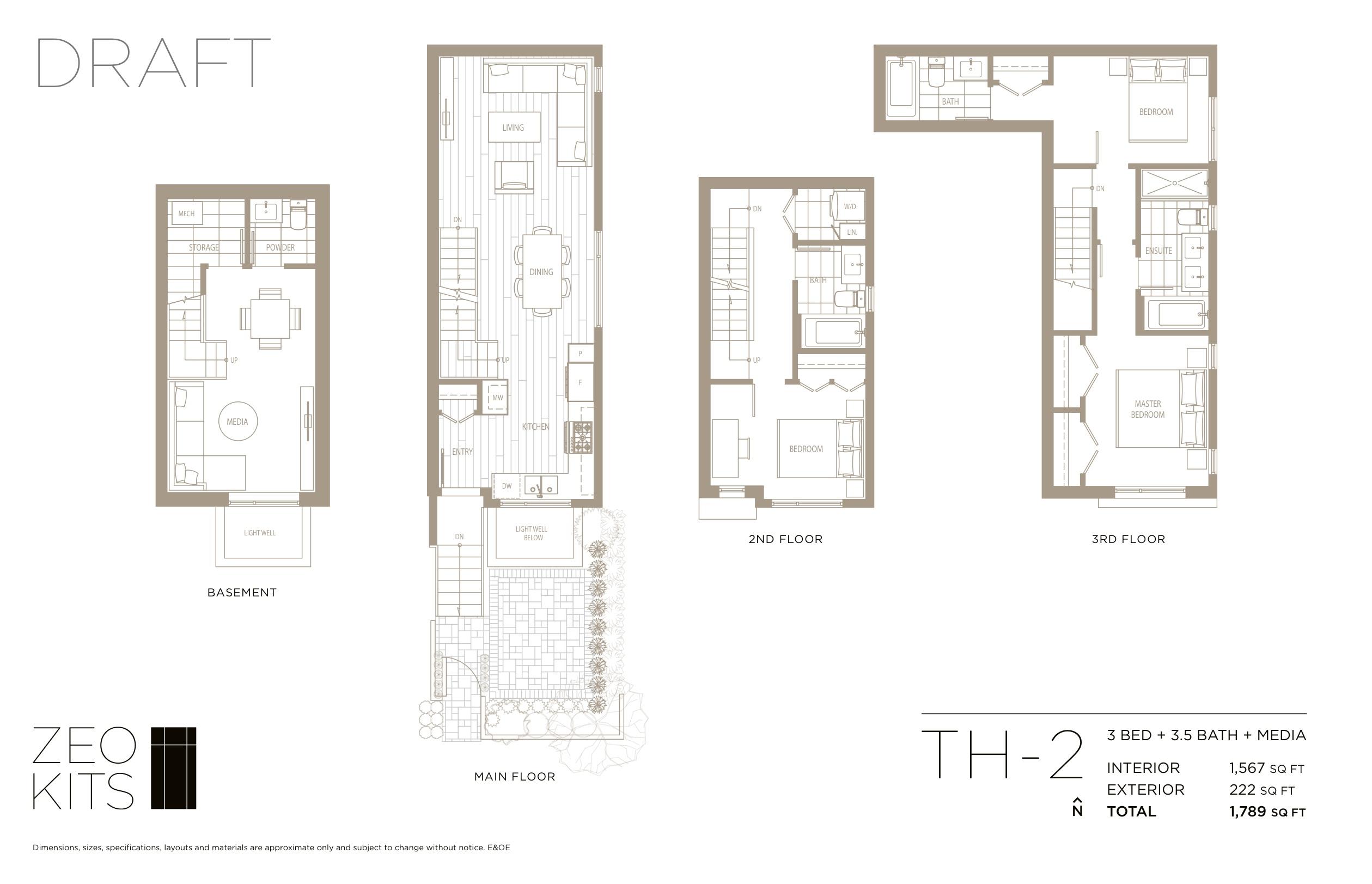 Sample 3 bed + 3.5 bath + media floorplan.