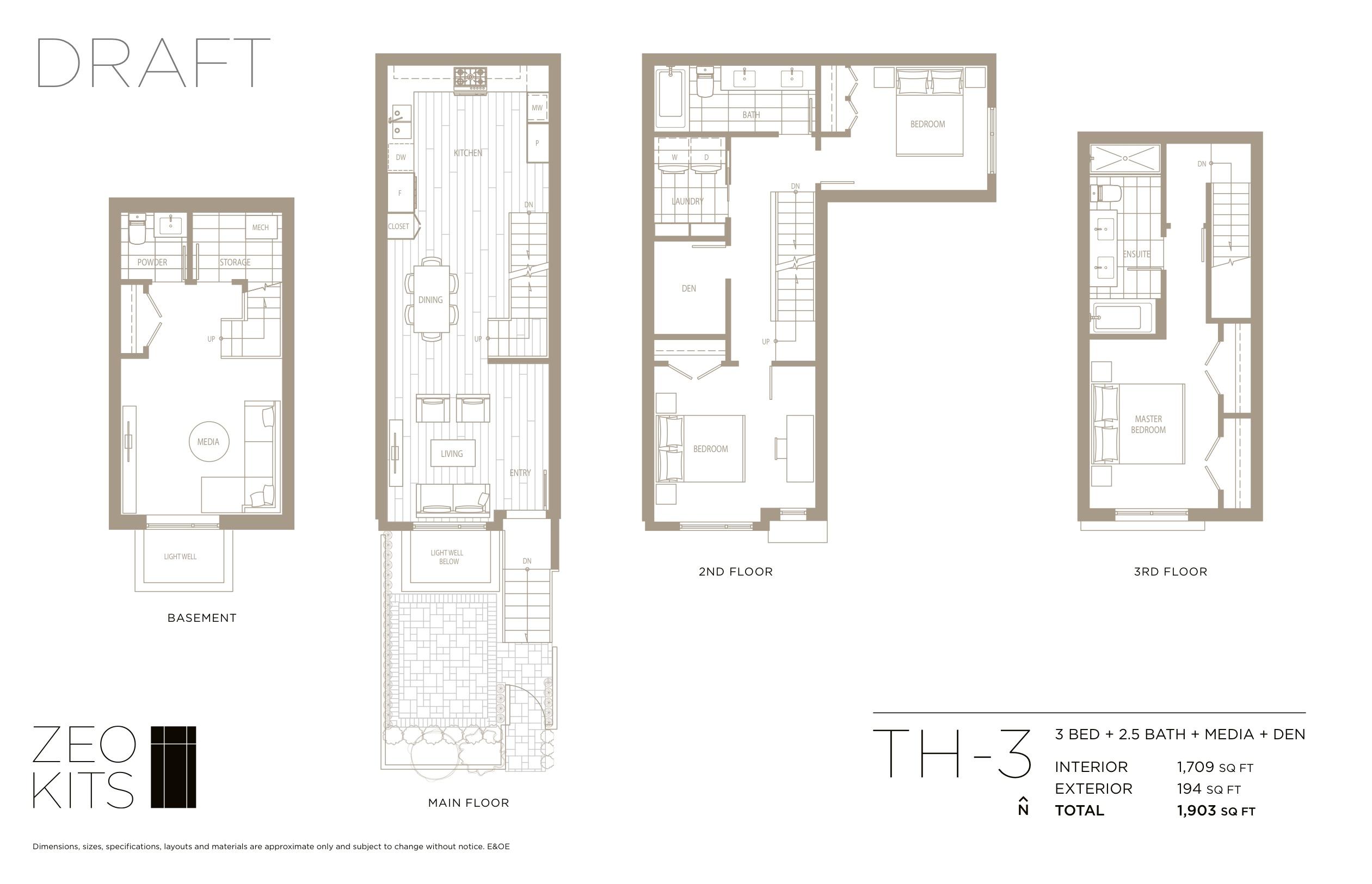 Sample 3 bed + 2.5 bath + media + den floorplan.
