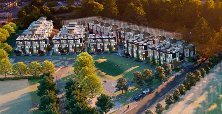 Artist rendering of new Lions Gate Village townhouses from an aerial perspective.