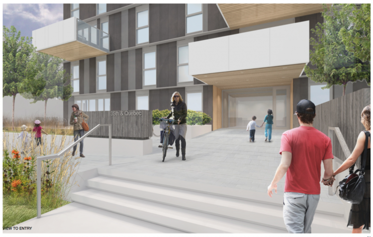Artist rendering of entry to Shift, an upcoming Vancouver condominium development in Little Mountain.