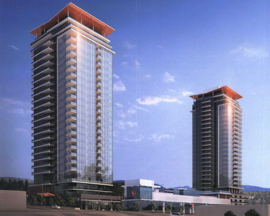 Artist rendering of the southwest perspective of Beedie Living's proposed Austin Heights condominium development.