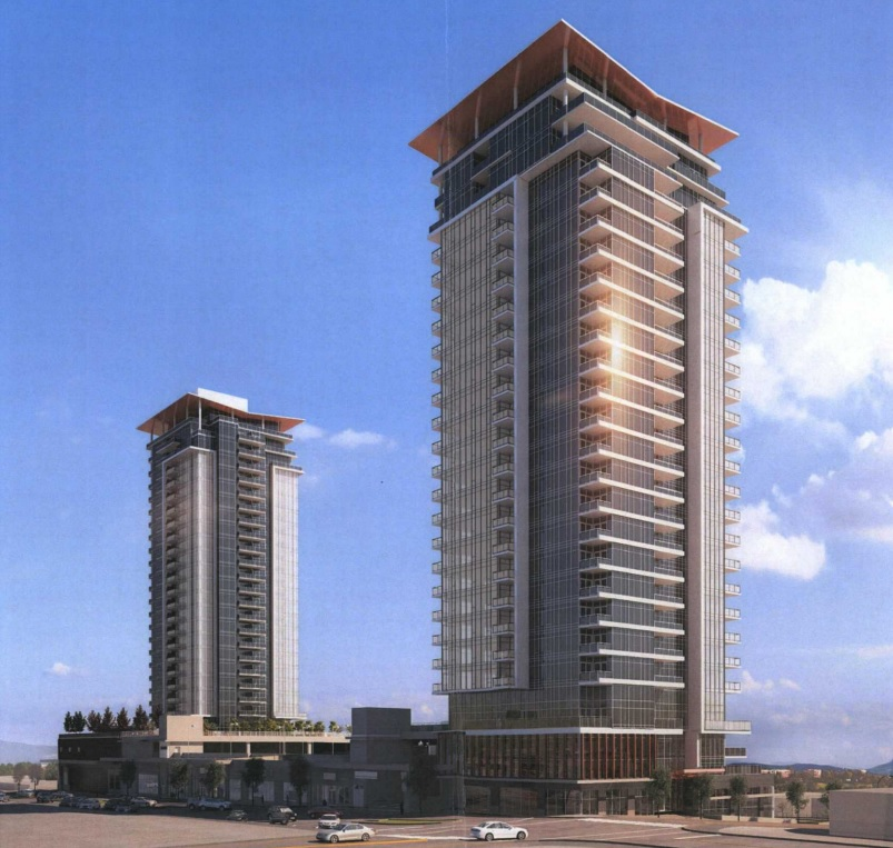 Artist rendering of the northwest perspective of Beedie Living's proposed Austin Heights condominium development.
