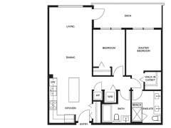 Berkeley House Plan C: 2 bedroom, 2 bathroom; approx. 860 sq ft.