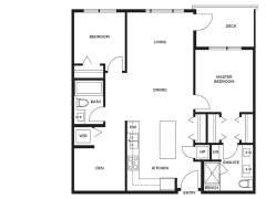 Berkeley House Plan D: 2 bedroom + den, 2 bathroom; approx. 938 sq ft.
