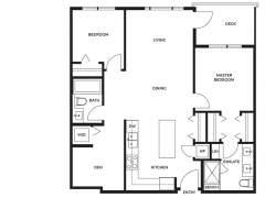 Berkeley House Plan D1: 2 bedroom + den, 2 bathroom; approx. 860 sq ft.