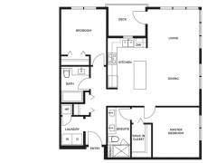 Berkeley House Plan E: 2 bedroom, 2 bathroom; approx. 1,016 sq ft.