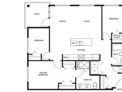 Berkeley House Plan F: 3 bedroom, 2 bathroom; approx. 1,130 sq ft.