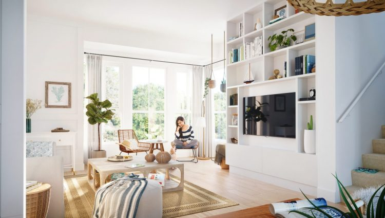 Living room design concept for Seaside by MOSAIC townhouses in Tsawwassen.