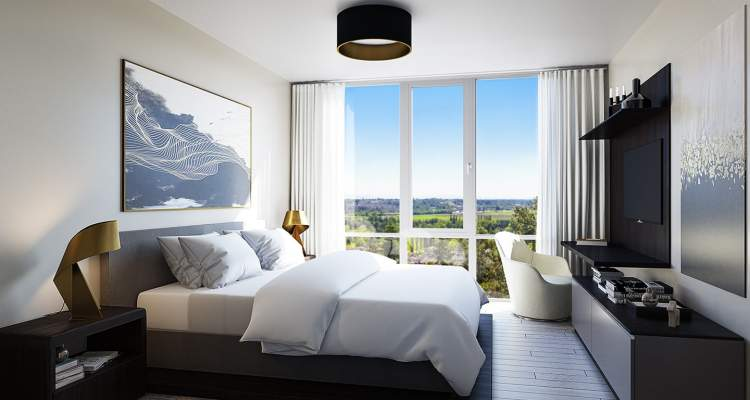 Master bedroom concept for Altus White Rock luxury condos designed by BAM Interiors.