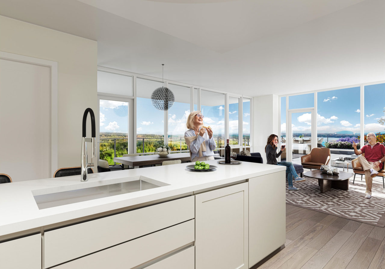 Kitchen and living room concept for Altus White Rock luxury condos designed by BAM Interiors.