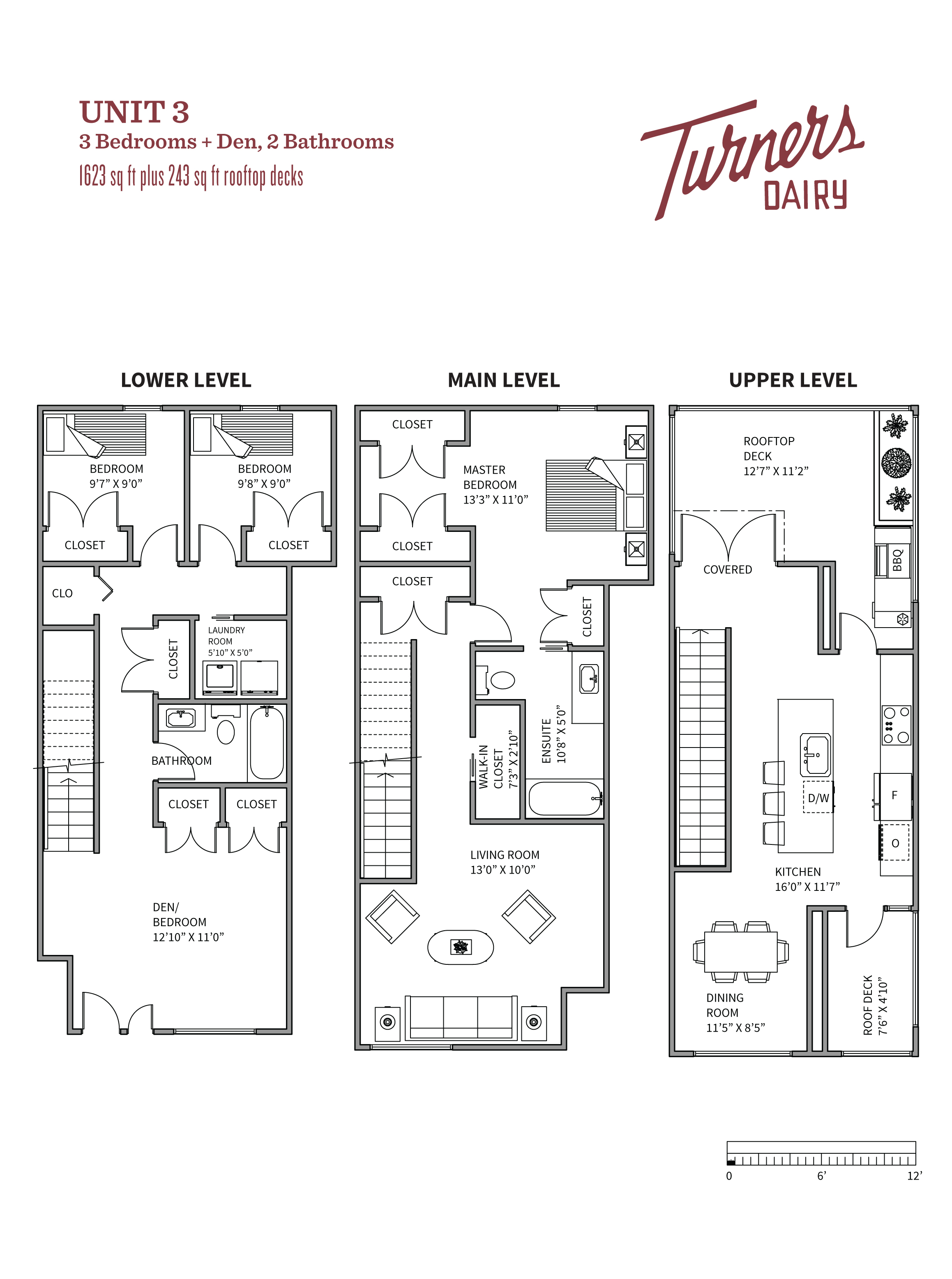 Thumbnail of Unit 3 floorplan of Turners Dairy Riley Park townhomes.