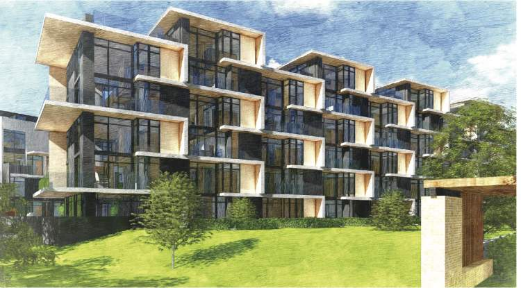 Module B consists of stacked townhomes designed by Ramsay Worden Architects.