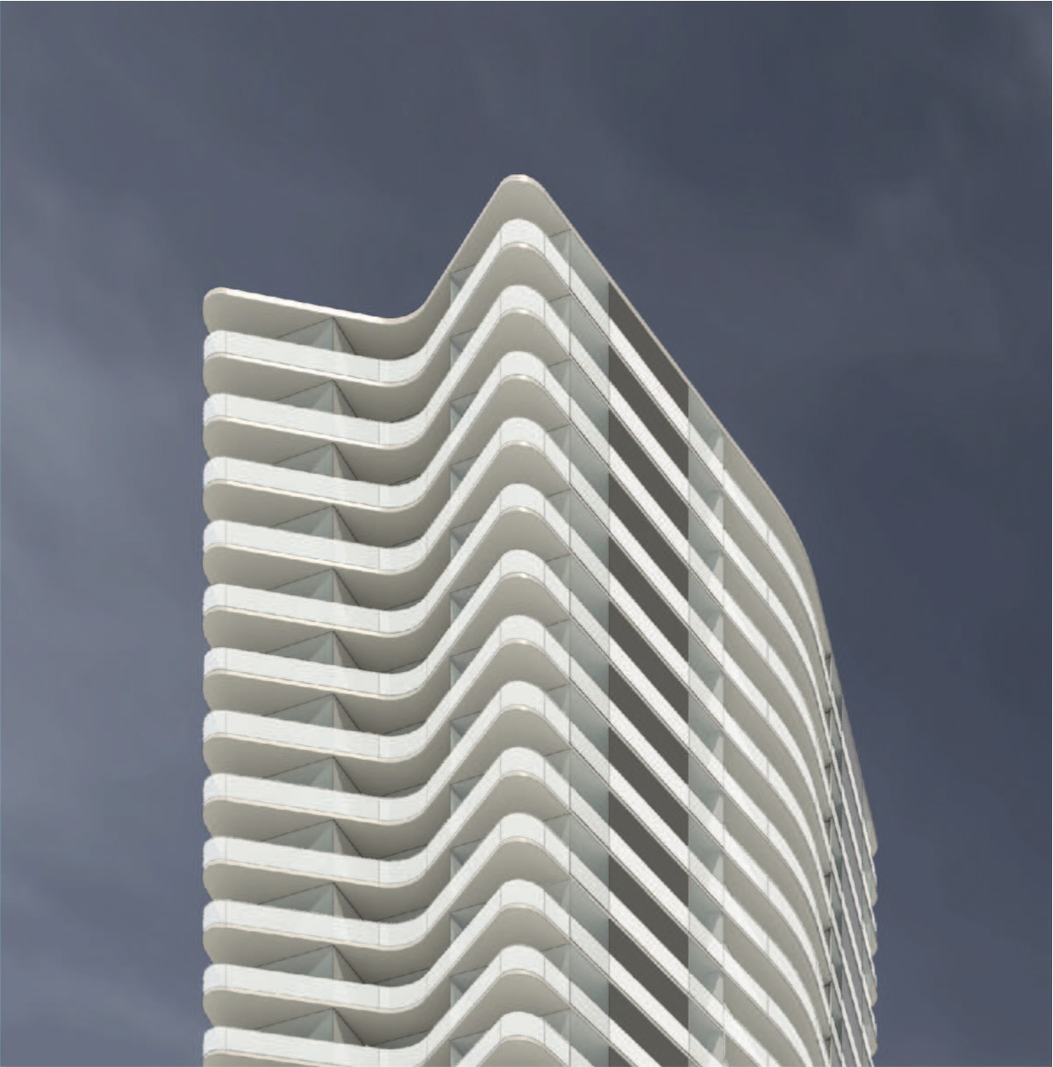 Detail of the residential tower proposed by Reliance Properties for Agnes & Eighth in New West.
