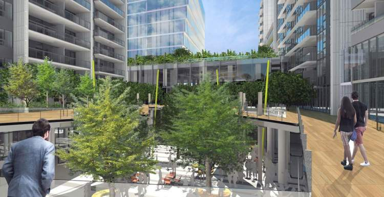 Artist concept of internal courtyard for Atmosphere mixed-use development in Richmond's Lansdowne Village neighbourhood.