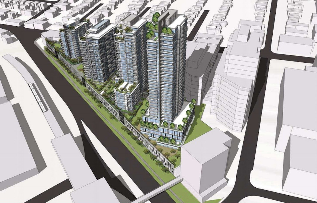 Building 7 is the tallest residential tower in Wesgroup's Brewery District development in New Westminster.