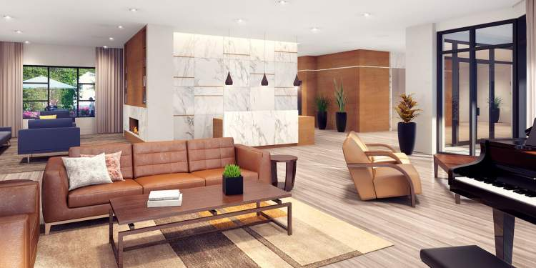At Camellia Residences, seniors can enjoy a wide variety of amenities, such as this lounge.