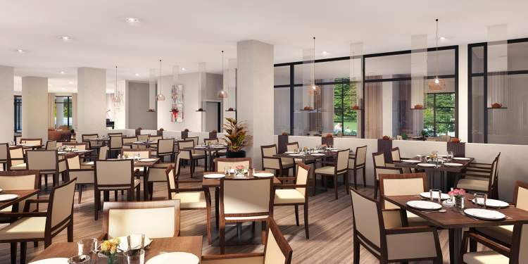 Communal dining room at Camellia Residences seniors community, coming soon to North Surrey.