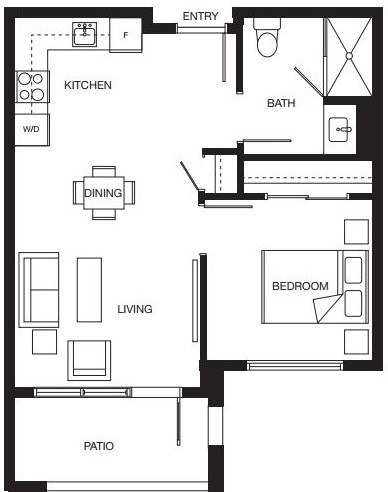 1 bedroom floorplan for new North Surrey senior living condominiums.
