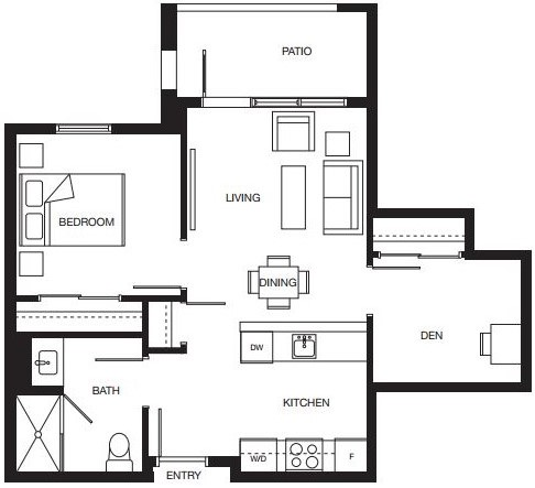 1 bedroom + den floorplan for new North Surrey senior living condominiums.