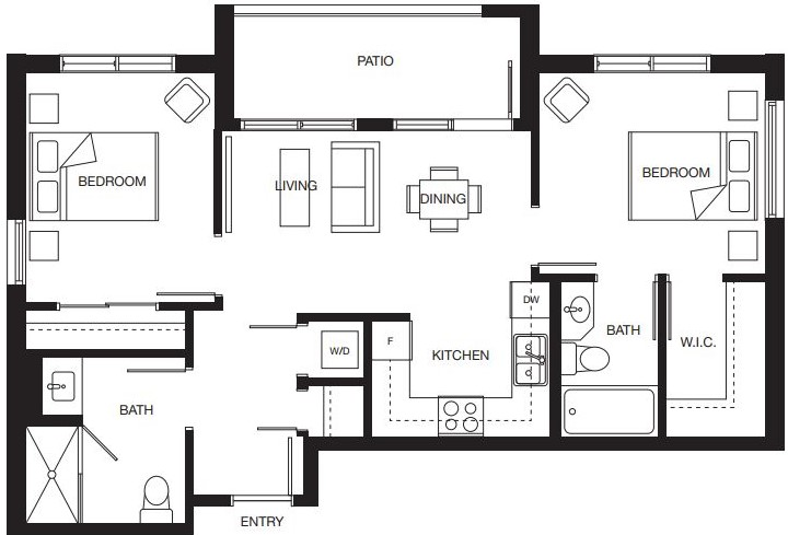 2 bedroom floorplan for new North Surrey senior living condominiums.