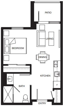 Studio floorplan for new North Surrey senior living condominiums.