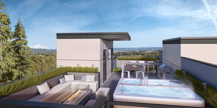 Each Crest residence has a signature Hayer roof deck that is the epitome of pure relaxation.
