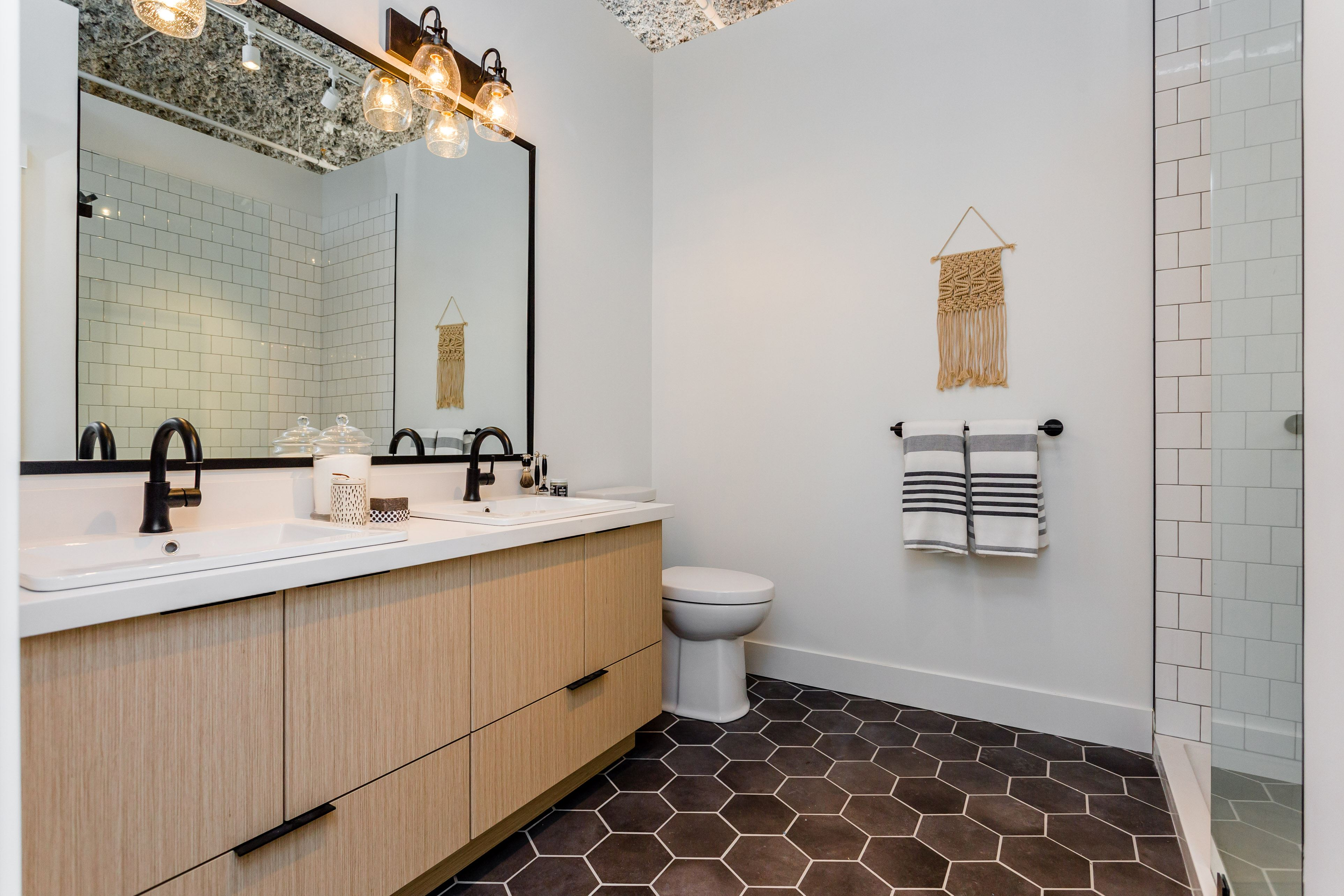 Bathroom interior design concept for Hudson & Singer condominiums in Willoughby Town Centre, Langley.