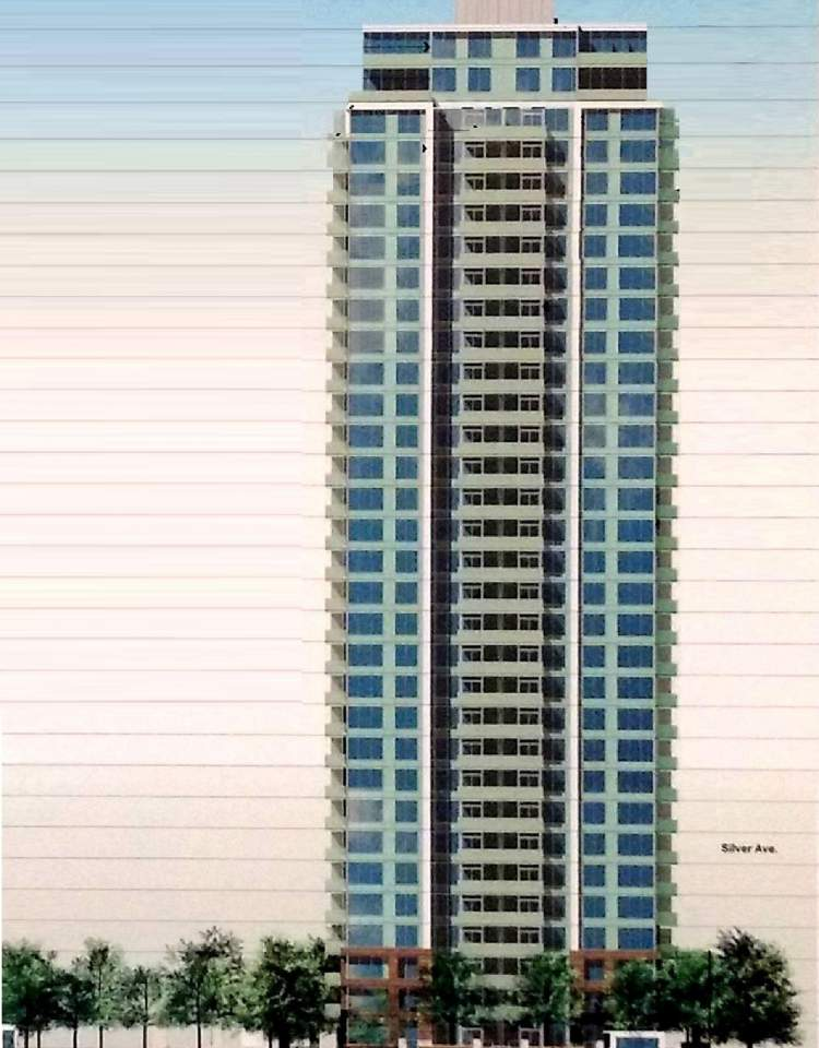 Architectural drawing of tower elevation for Burnaby's upcoming parkside condos by Intracorp.