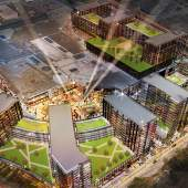 Artist's rendering of the redevelopment of CF Richmond Centre South as seen from the air at night.