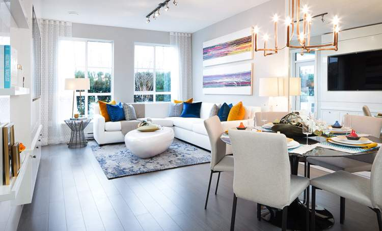 Interior design concept for the living and dining areas of Langley's latest condominium development at 82 Avenue.