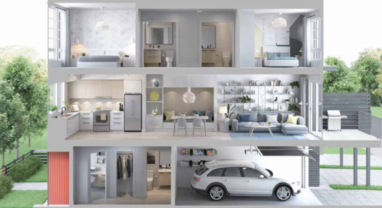 Cutaway of Floorplan B 3-bedroom townhouse coming soon to Squamish from BlueSky Properties.