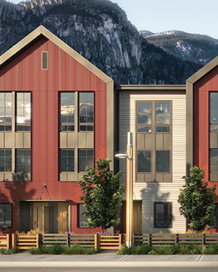 Waterfront Landing townhouses are inspired by modern Scandinavian design.
