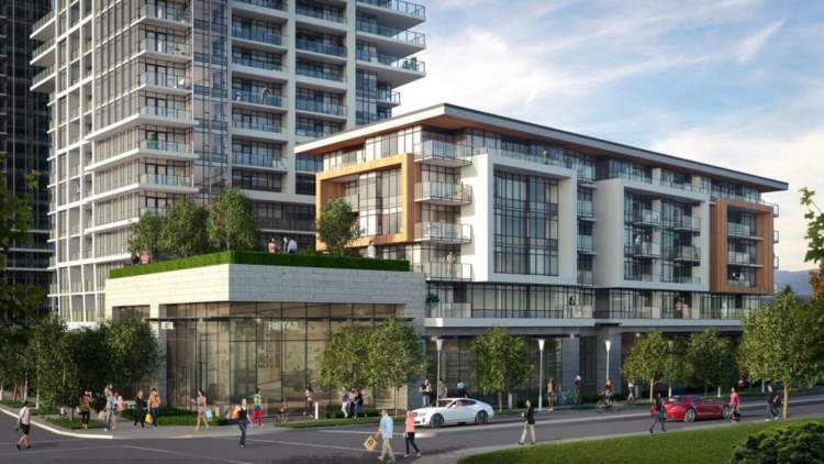 Artist rendering of Whalley District at the corner of 107A Avenue and King George Boulevard.