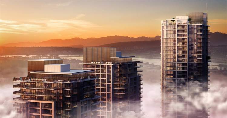 Adessa Visuals rendering of Tien Sher Group's Whalley District towers designed by Chris Dikeakos Architects.