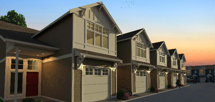 Newport townhomes at Cambridge Estates feature 3 bedrooms, 2 baths, plus flex space -- ideal for families.
