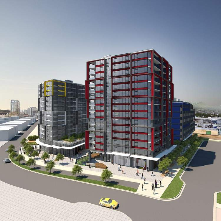 Coming soon to the False Creek Flats, a mixed-use development with live-work spaces.