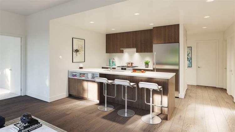 Brillia presale Vancouver condos feature European-inspired kitchens with Bloomberg appliances.