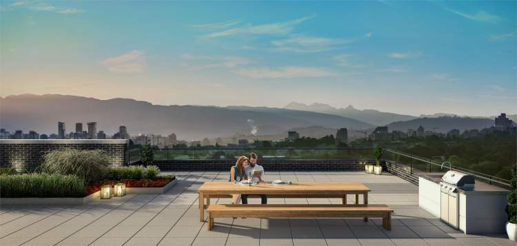 Enjoy stunning city and mountain views from Brillia's rooftop terrace.