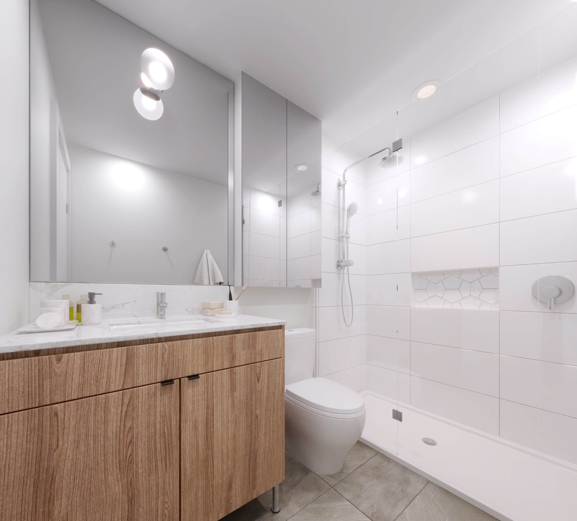 Elevate bathrooms feature Grohe hardware and Toto toilents.